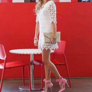 CHICWISH - Adorable Crochet Shift Dress in White